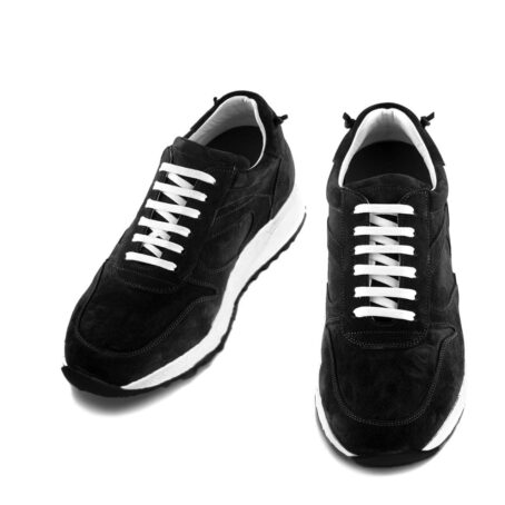 black suede sneakers with white laces 2