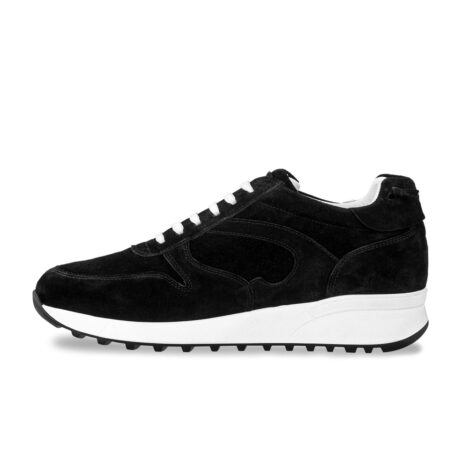 black suede sneakers with white laces 3