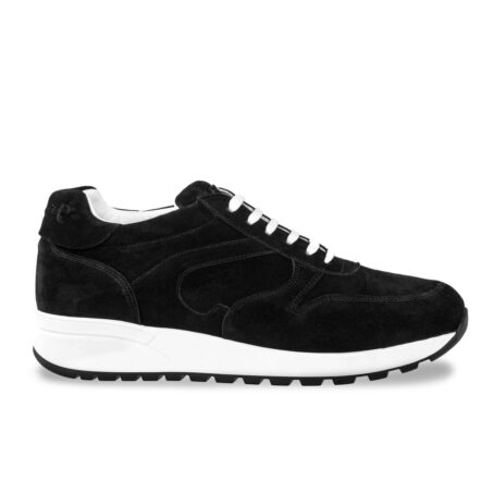 black suede sneakers with white laces 1