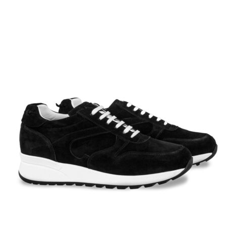black suede sneakers with white laces 4