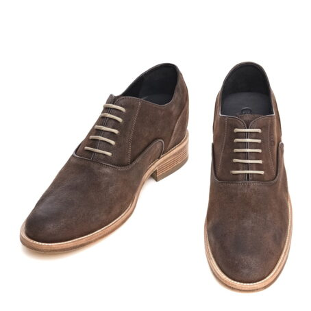 dark suede waxed aged leather oxford shoes
