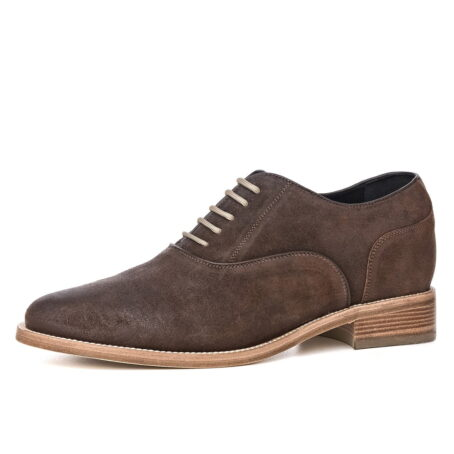 dark suede waxed aged leather oxford shoes 3