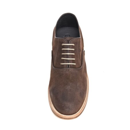 dark suede waxed aged leather oxford shoes 4