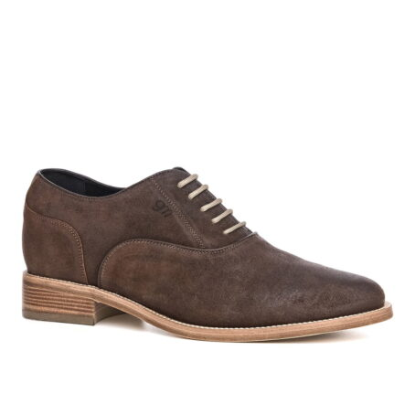 dark suede waxed aged leather oxford shoes 1
