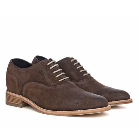 dark suede waxed aged leather oxford shoes 5