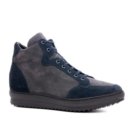 blue and grey suede mit-top sneakers