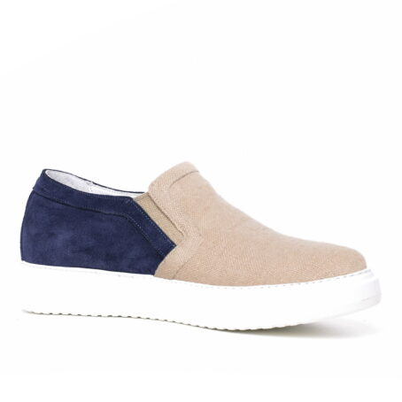 sand slip-ons with blue suede toe