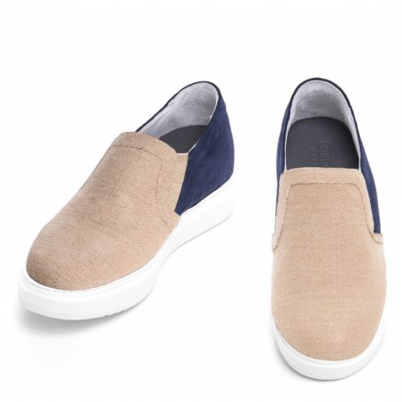 sand slip-ons with blue suede toe 2