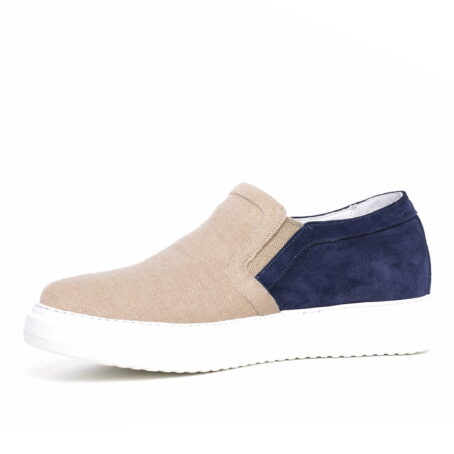 sand slip-ons with blue suede toe 3
