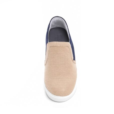 sand slip-ons with blue suede toe 4