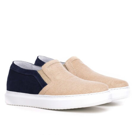 sand slip-ons with blue suede toe 5