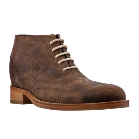 waxed suede brown chukka ankle boots with white laces 5