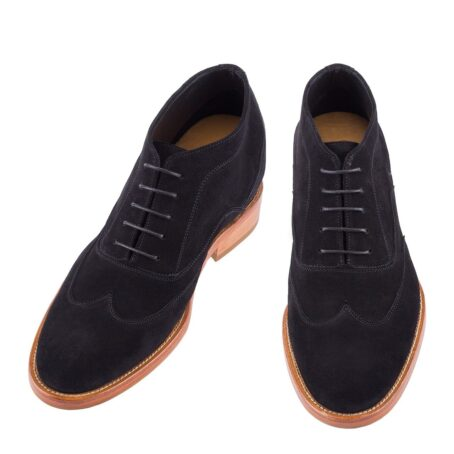 black suede chukka ankle boots with brown outsole 2