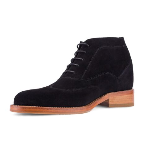 black suede chukka ankle boots with brown outsole 3
