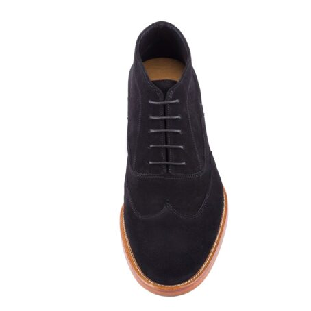 black suede chukka ankle boots with brown outsole 4