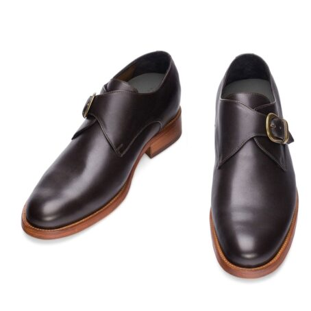 monk strap dark leather shoes 4