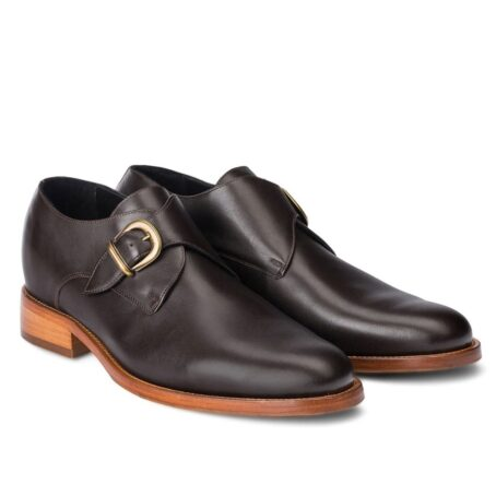 monk strap dark leather shoes