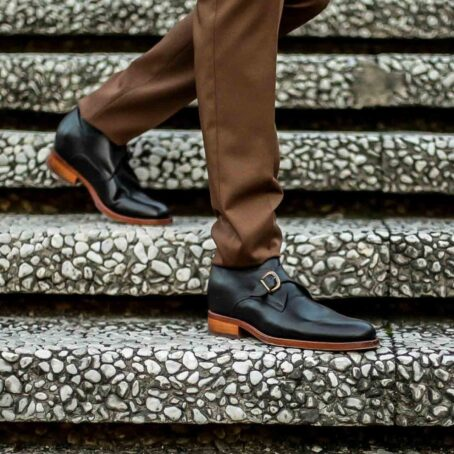 monk strap leather shoes for man