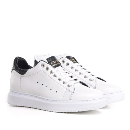 White elevated sneaker with crocodile inserts - Guidomaggi Switzerland