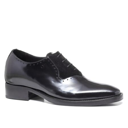 oxford shoes in shiny black upper with elegant suede details 1