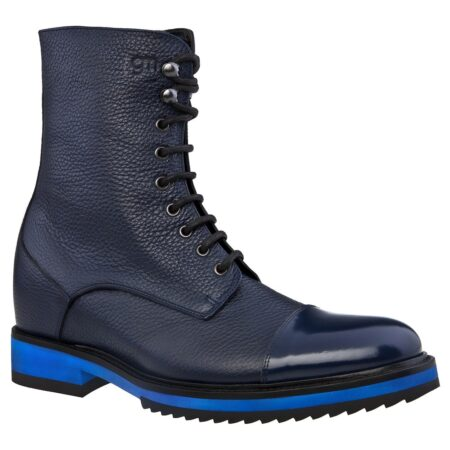 textured leather boots and shiny blue calfskin 1