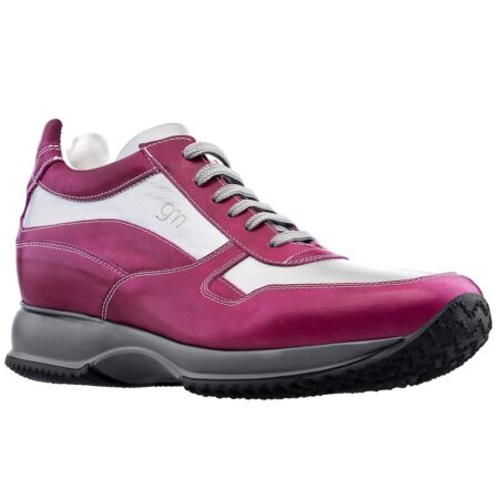 Sneakers in fuchsia and grey leather 1