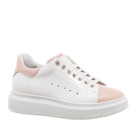 White sneakers with details in pink leather 1