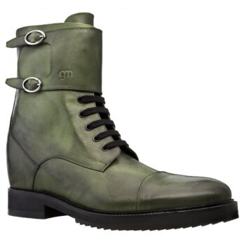 Men's boots in true leather with dark green shades 1