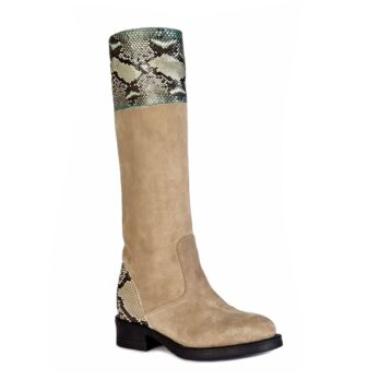 womens boots beige suede with details in python leather 1