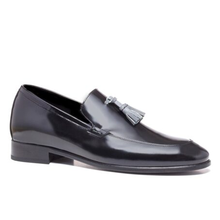 Shiny black tassel loafers 1