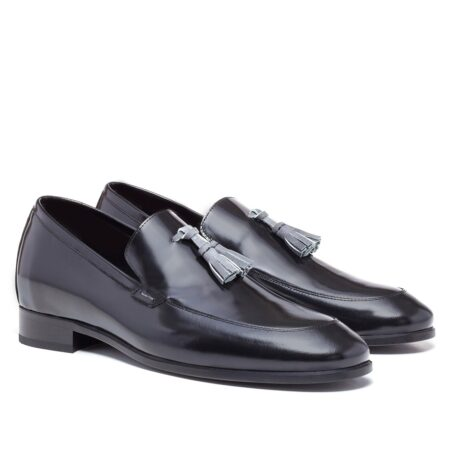 Shiny black tassel loafers 5