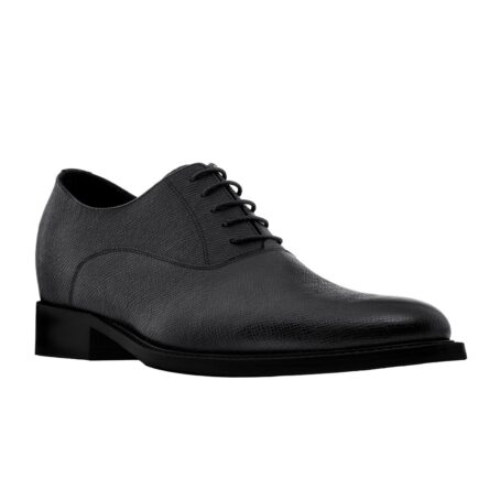 Black textured oxford shoes 1