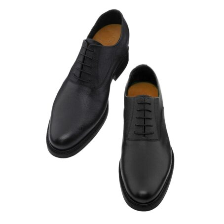 Black textured oxford shoes 2