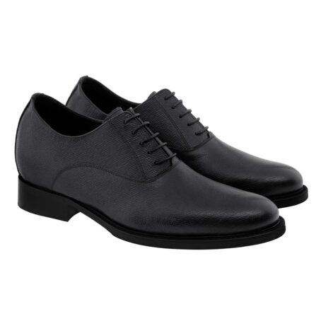 Black textured oxford shoes