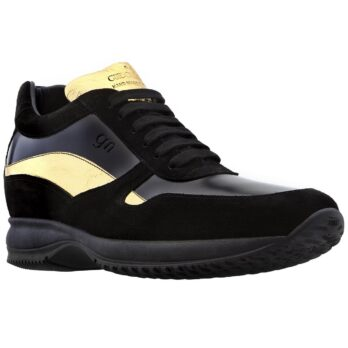 Wearing black and gold sneakers 1