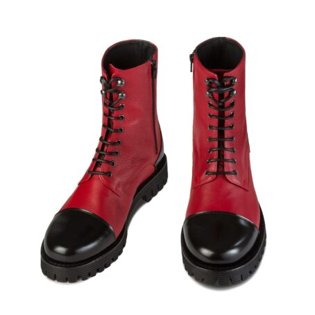 Red and black combat boots 2