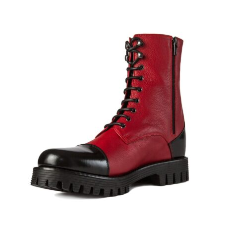 Red and black combat boots 3