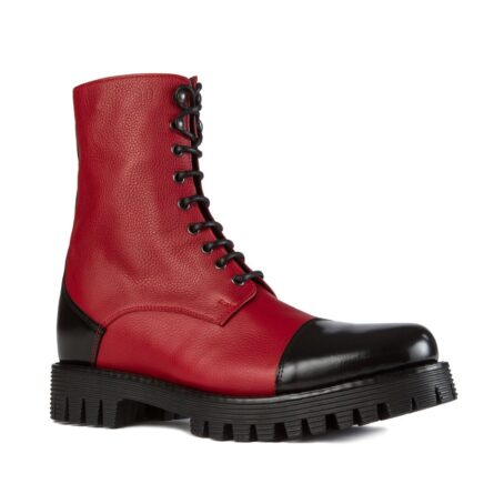 Red and black combat boots 4