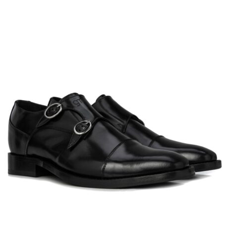 Black elegant double monk strap 5
