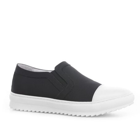 Black and white slip-ons shoes 1