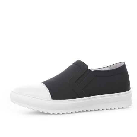 Black and white slip-ons shoes 4