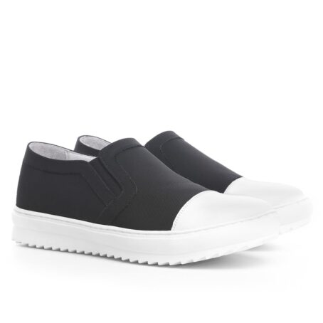 Black and white slip-ons shoes 5