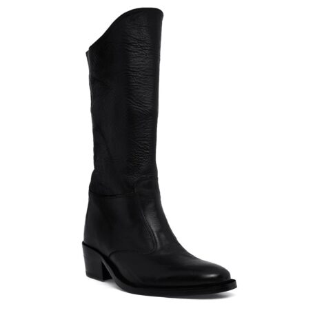 Black leather woman boots 1