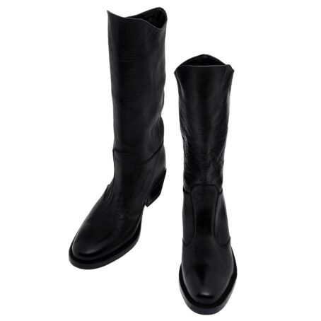 Black leather woman boots 2