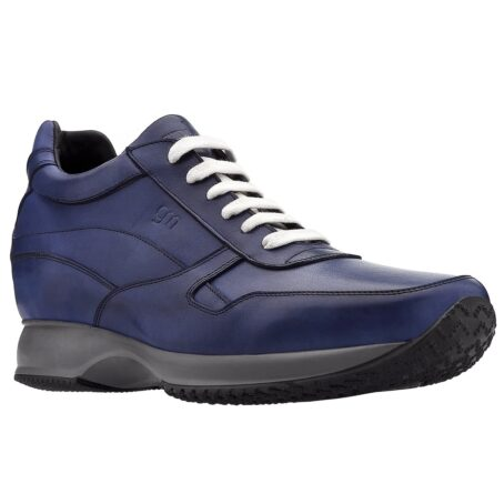 Blue navy sneakers with white laces 1