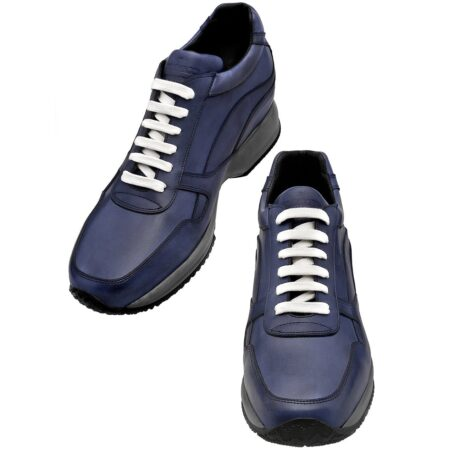 Blue navy sneakers with white laces 2