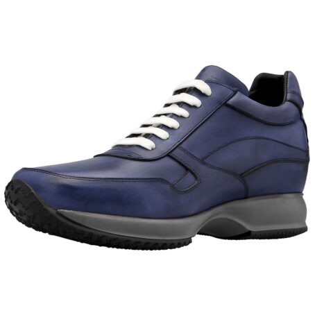 Blue navy sneakers with white laces 3