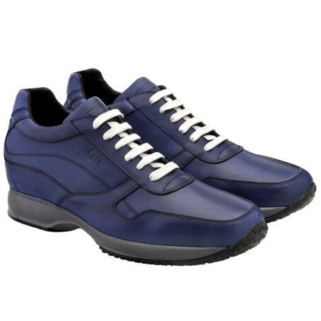 Blue navy sneakers with white laces 5