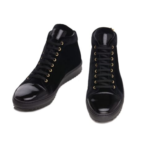 Black velvet sneakers with patent tip 2