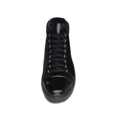 Black velvet sneakers with patent tip 4